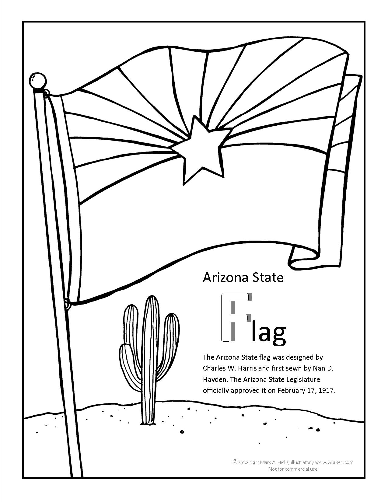 Arizona flag coloring page for A z coloring pages