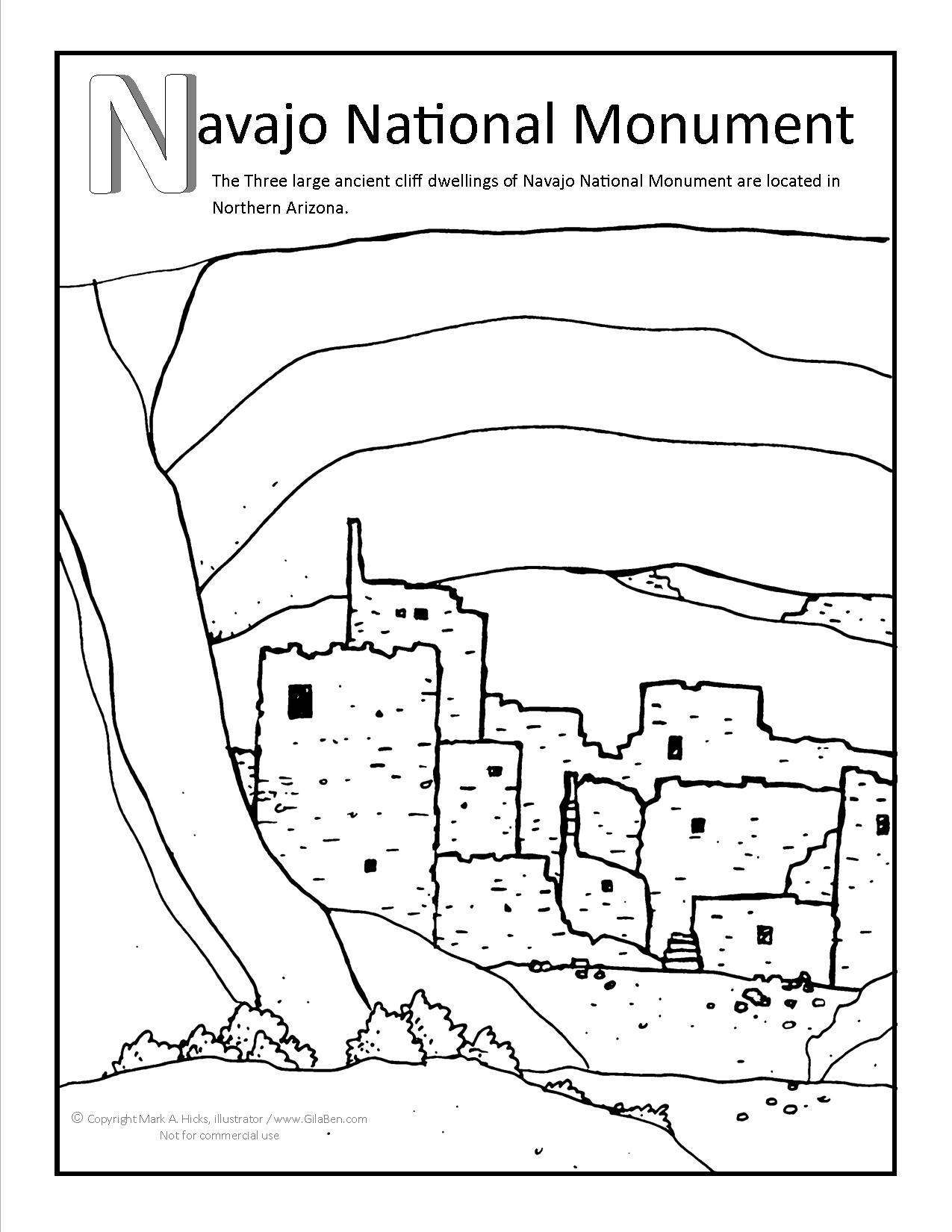 Navajo national monument coloring page for Navajo coloring pages