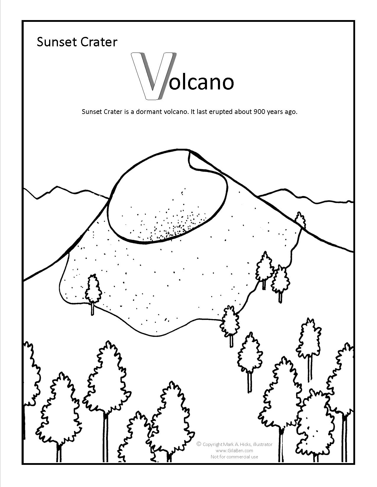 Sunset Crater Coloring Page