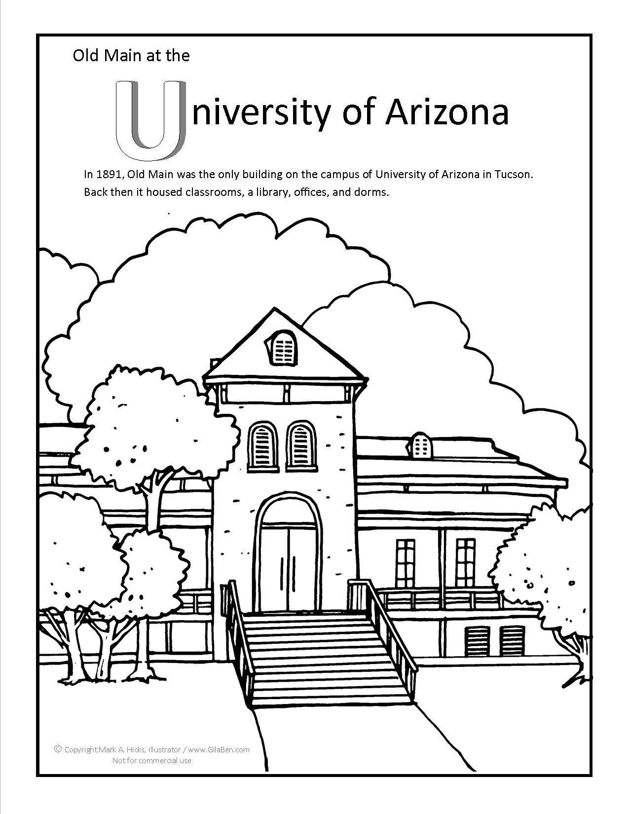 university of arizona old main coloring page