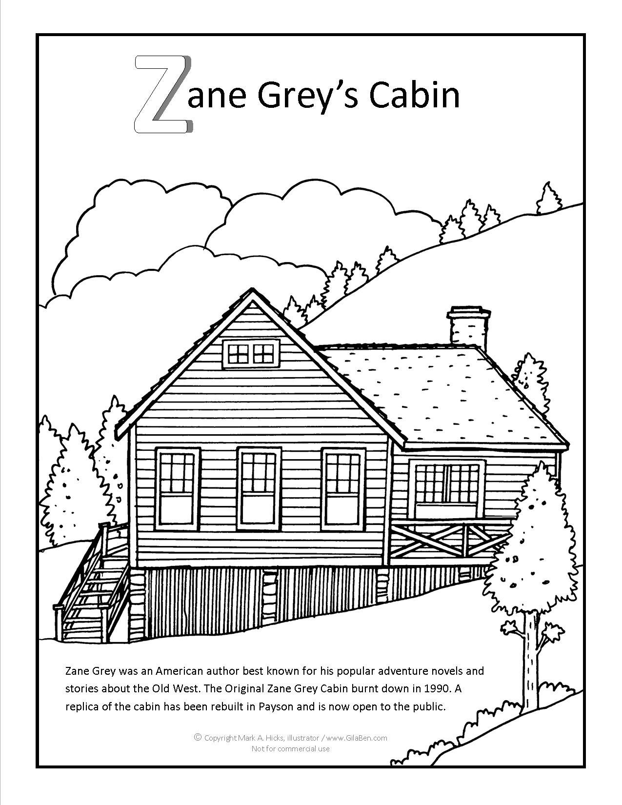 coloring pages cabin - photo#7